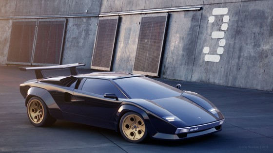 I rather like this combination of black over gold wheels for a Countach Retro Concept