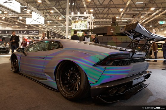 Rear view of this insane wrap on an LB Works Huracan ... note the DMC rear wing