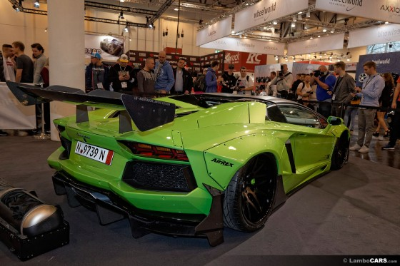 The rear wing on the Lamborghini Aventador Roadster LB Works Limited is really intimidating
