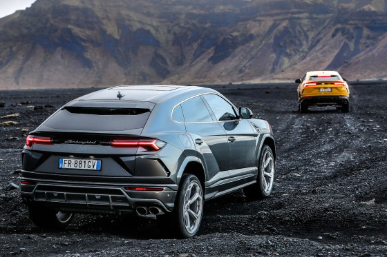 The Lamborghini Urus on some rought terrain during Avventura Iceland