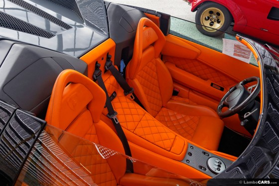 All orange leather with optional Q-Citura stitching inside this Murcielago LP640 Roadster