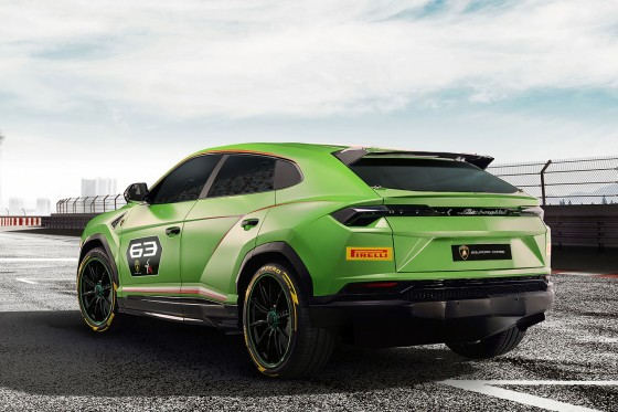 Rear view of he race prepared Lamborghini Urus ST-X Concept