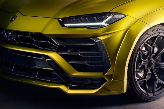 Close up of the wide wheel arch extensions fitted to the Urus by Novitec Torado